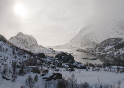 Nieve en las Islas Lofoten